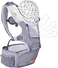 Bable 6-in-1 Baby Carrier with Hip Seat, 360 Ergonomic Front and Back Baby Carrier with Nursing Cover for Newborn to Toddler (8-33 lbs),Baby Wrap Carrier, Mesh for All Seasons - Blue Heron