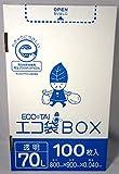 ゴミ袋 ECOTAI ECO 箱タイプ 100枚エコマーク付き70L 800x900x0.040厚 透明 100枚x4箱 LLDPE素材 HK-730eco