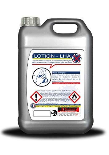 Lotion hydroalcoolique 5L - Teneur en alcool 81% - Fabrication française - Désinfection des mains et surfaces