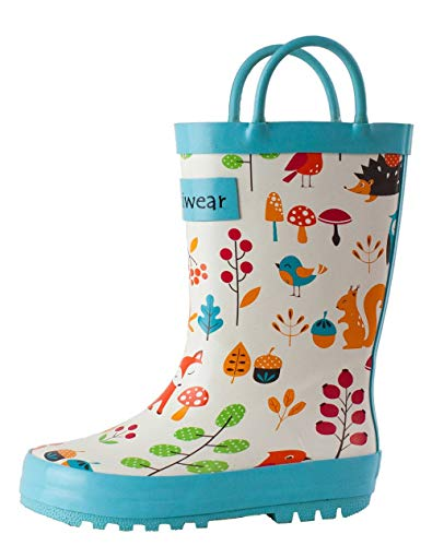 Product Image of the OAKI Kids Rubber Rain Boots with Easy-On Handles, Forest Animals, 4T US Toddler