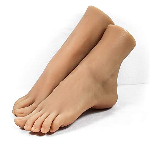 ZLSN 1 Paar Silikon Füße Mädchen Fuß Mannequin Klone Füße Fetisch Job Spielzeug FußFetisch Sandale Schuh Socke, Kein Geruch, kein Verblassen - Normale Haut