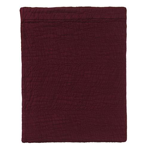 URBANARA Tagesdecke Ruivo - 100% Reine Baumwolle, Weinrot mit Blattmuster - 180 x 230 cm, Bett-Überwurf, Plaid, Sofadecke, Wohndecke