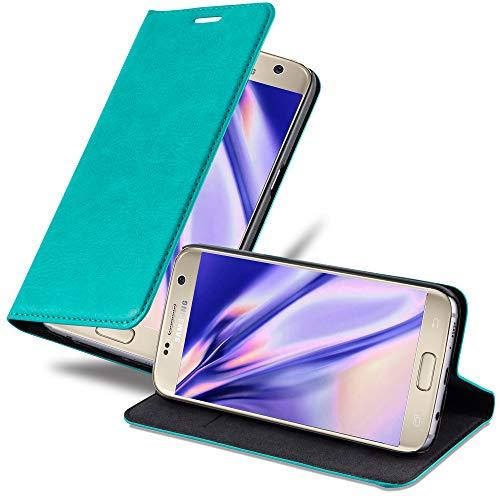 Cadorabo Hülle für Samsung Galaxy S7 - Hülle in Petrol TÜRKIS – Handyhülle mit Magnetverschluss, Standfunktion & Kartenfach - Hülle Cover Schutzhülle Etui Tasche Book Klapp Style