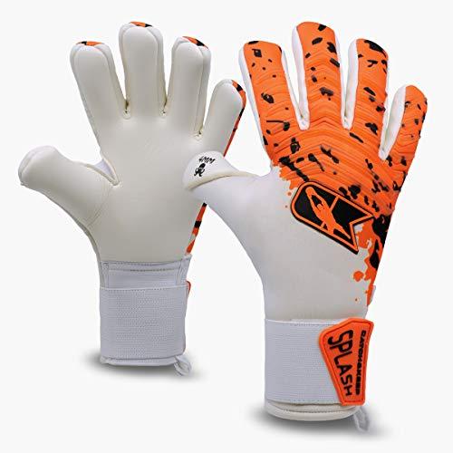 Catch & KEEP profesjonalne rękawice bramkarskie dla dorosłych – maksymalna przyczepność – model premium – rękawice bramkarskie piłka nożna – z naszym uchwytem Octopus Grip (Splash – pomarańczowy, 8)