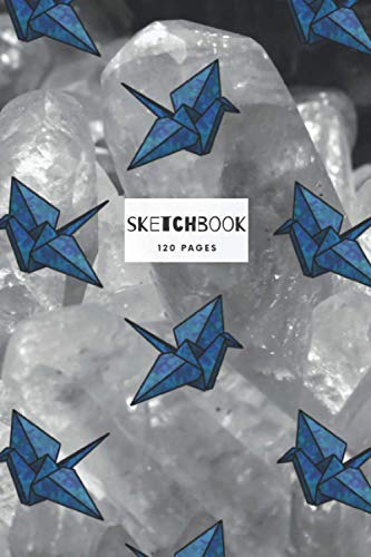 """Origami Crane Sketchbook: 6"""" x 9"""" Book - 120 Plain White Pages with a line for the Date/Title - Origami Design"""