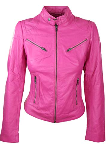 Infinity Giacca Rosa da Donna in Vera Pelle Stile Biker Silm Fit - Rosa S