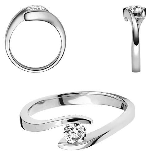 Damen 585er Weißgold 0,15 ct. Diamant Spannring Verlobung Solitär Antragsring