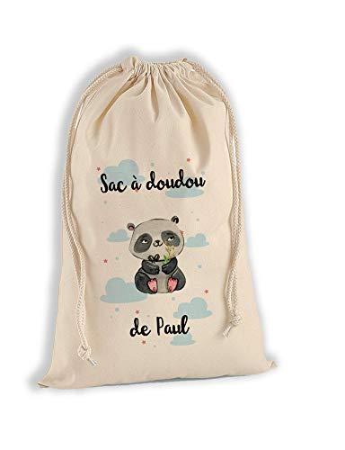 Sac à Doudou 100% Coton Bio - Panda - personnalisé