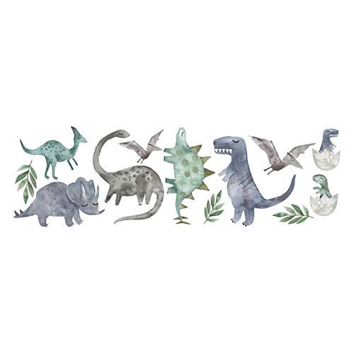 Brogtorl Wandaufkleber PVC DIY 3D Dinosaurier Cartoon Aquarell Dinosaurier Wandaufkleber Poster Tiere Vinyl Wandtattoos für Kinderzimmer Jungen Kinder Wandbild DIY Wohnkultur