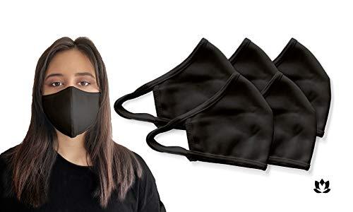 5 STK Waschbare Wasserabweisende Premium Mund Schutz Maske aus 70% Baumwolle in schwarz I Oeko-Tex 100 und CE Zertifiziert I Geruchsneutral I Antibakterielle Wirkung I Umweltfreundlich I Unisex Größe