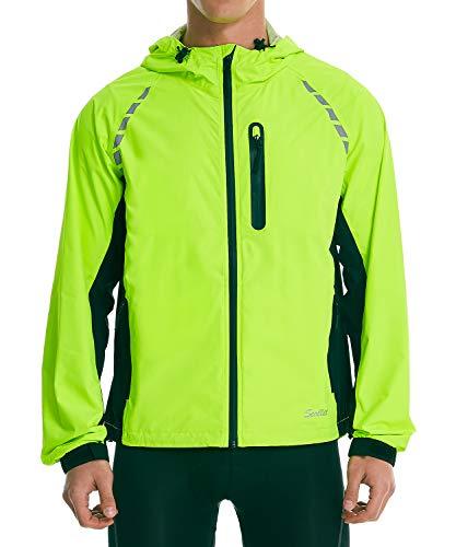 Men's Waterproof Cycling Jackets Lightweight Hooded Packable High Visibility Bike Biking Rain Jacket Running Reflective Windproof Windbreaker Raincoat with Zipper Pockets Fluorescent Yellow Black XL