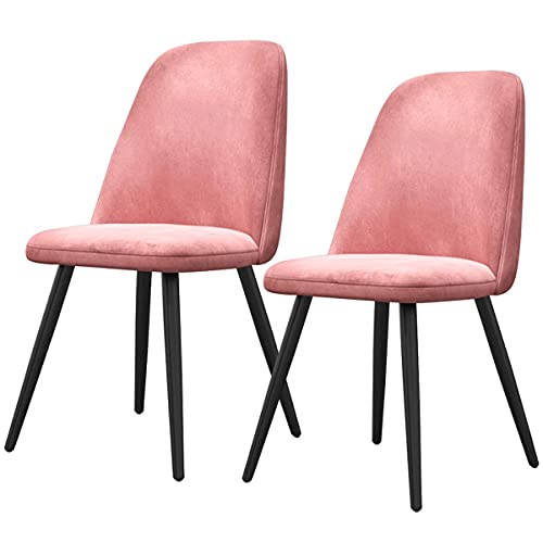 SFSGH Classic Dining Chairs Set of 2 Kitchen Chair Velvet Seat and Backrests Metal Legs Reception Chairs with Backrest for Leisure Living Room Reception Chairs