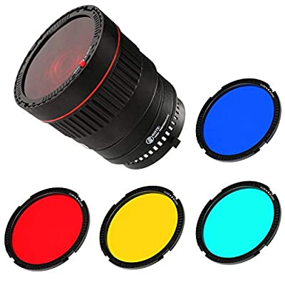 Runshuangyu Bowens Mount 10X Brighter Light Focus Lens for Studio Flash & LED Light Lamp with 4 Color Filters from Runshuangyu
