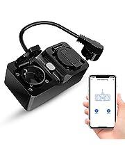 Alexa WLAN outdoor stopcontact, Refoss Smart buitenstopcontact, IP44 waterdicht en 2 uitgangen, met eHomelife app, compatibel met Alexa, Google Assitant