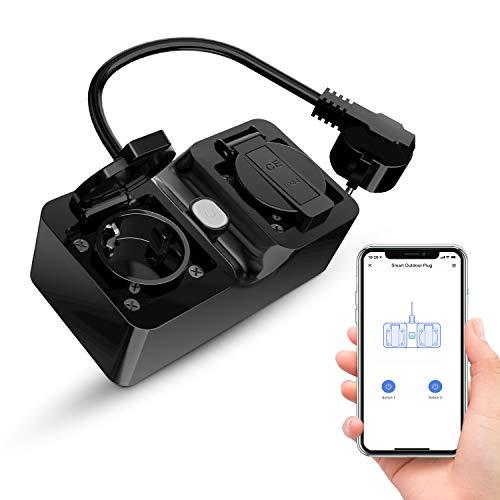 Alexa WLAN Outdoor Steckdose, Refoss Smart Außensteckdose, IP44 wasserdicht und 2 Ausgänge, mit eHomelife App, kompatibel mit Alexa, Google Assitant und IFTTT