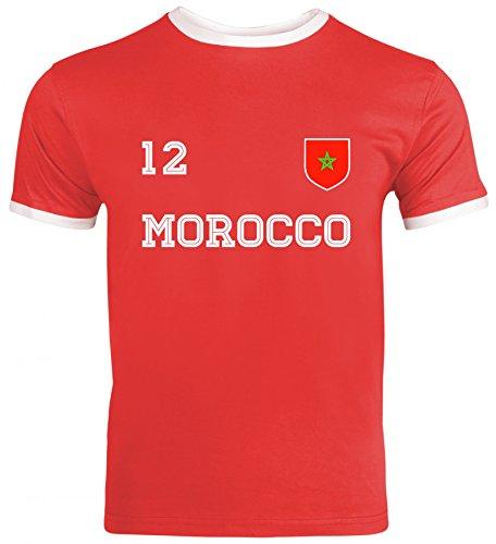 Marocco Fußball WM Fanfest Gruppen Herren Männer Ringer Trikot T-Shirt Trikot Marokko, Größe: S,Red/White