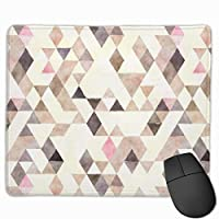 """Watercolor Tan Mocha Cream Pink Triangles Pattern Mouse Pad Non-Slip Rubber Gaming Mouse Pad Rectangle Mouse Pads for Computers Desktops Laptop 9.8"""" x 11.8"""""""