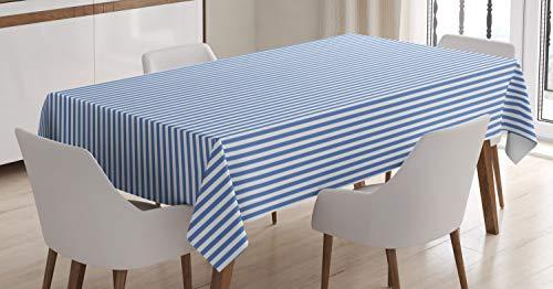 ABAKUHAUS Rayado Mantele, Náutica Estilo Marinero, Apto Uso Exterior Lavable Colores Firmes Resistente a Manchas, 140 x 200 cm, Azul Azul Y Blanco