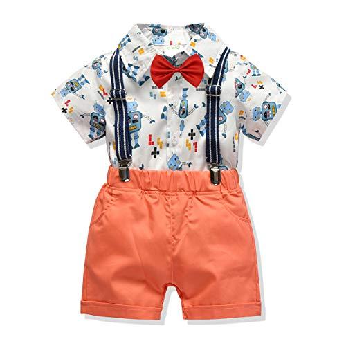 Carlstar Little Boys Gentleman Outfit Suits,Baby Boys Short Pants Set,Short Sleeve Shirt+Suspender Pants+Bow Tie 4Pcs (Robot, 1-2T/80)