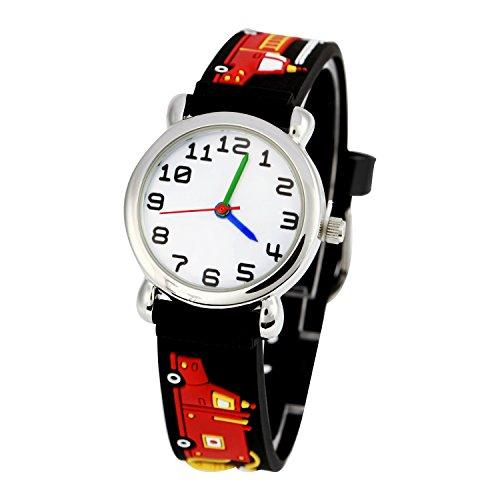 ELEOPTION Kinderuhr Silikon Armband Uhr Wasserdichtes 3D lieblich Tiere Cartoon Digital Armbanduhr Zeit Lehrer Geschenk für Kinder kleine Mädchen Jungen (Schwarz Feuerwehrauto)