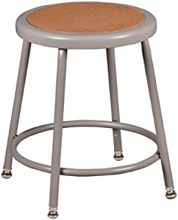 Learniture Heavy Duty NOR-TY-538A-18 Steel Stool with Hardboard Seat and Adjustable Height, 18 5/8-26 1/2