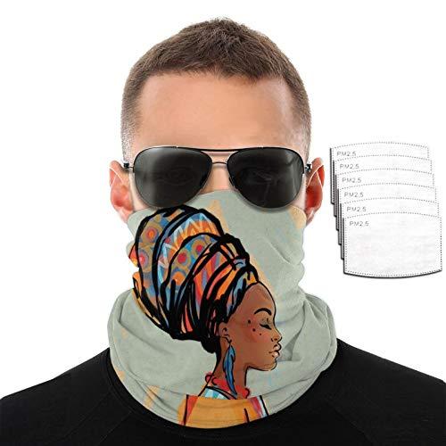 Mujer africana con pendientes hombres mujeres deportes al aire libre a prueba de viento transpirable variedad toalla facial