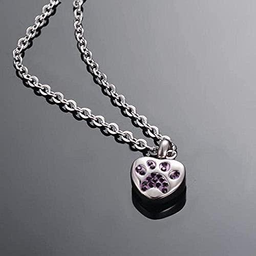 qiangloushui Collar Collar De Urna De Ceniza De Cremación para Mascotas con Diamantes De Imitación De Acero Inoxidable, Colgante De Corazón para Joyería Conmemorativa para Mascotas