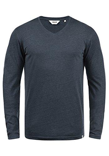 !Solid Beda Herren Longsleeve Langarmshirt Shirt Mit V-Ausschnitt, Größe:L, Farbe:Insignia Blue Melange (8991)