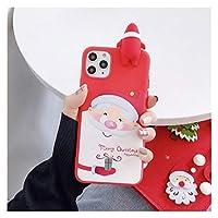 THUCHENYUC かわいい3D人形漫画クリスマスサンタツリーソフト電話ケースカバーギフトiPhone11 Pro Max 12 X XS XR 7 8 Plus SE 2020 (Color : E, Size : For iphone 7 plus)