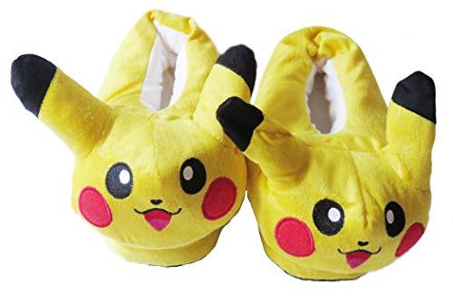 Carchet - Zapatillas de Felpa para Niños y Adultos Unisex Pantuflas de Casa para Invierno Peluche Pokémon - Talla única 36-44 - Pikachu - Color Amarillo