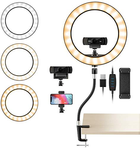 """Webcam Light Stand for Live Stream, Make-up, Online Live, Selfie 10"""" 3-Light Mode Ring Light with Webcam & Phone Holder with Flexible Gooseneck Arm Stand by Amada"""