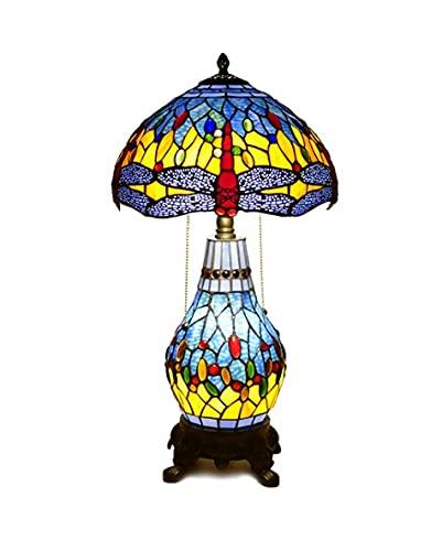 Lámpara de mesa estilo Tiffany de 28 pulgadas Alto Alfabeto Escritorio Lámpara de Libélula Manchada Patrón de Vidrio Lámpara de Vidrio Antigua Mesa de noche Luz para sala de estar Dormitorio Estudiar