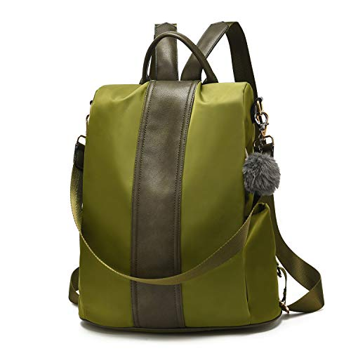 Women Backpack Purse Waterproof Nylon Anti-theft Rucksack Lightweight Shoulder Bag (Olive Large)