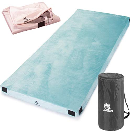 """Camplife Centipur-US Memory Foam Sleeping Mattress Most Comfortable Camping Mattress with Carry Bag Travel Strap Removable Waterproof Cover Roll Out Sleeping Pad Floor Bed (Twin - 75"""" x 38"""" x 3"""")"""