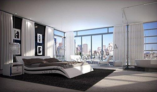 w1a Designer Wasserbett Accent Weiß 200 x 220 cm Dual Designerbett Softside Komplett Set