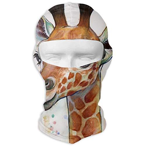 NOBRAND Full Face Masker Baby Giraffe Aquarel Schilderijen, Kwekerij Art Hood Zonnebrandcrème Masker Dubbele Laag Koud Voor Mannen En Vrouwen