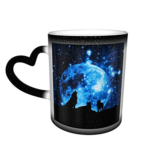 Wolf Silhouette Painting at Painting Color Changing Cups Heat Sensitive Coffee Mugs Magic Funny Personalized Ceramic