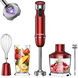 VAVSEA 1000W 5-in-1 Immersion Blender, 12 Speed Hand Blender Stick with Mixing Beaker (22oz), Food Processor (17oz), 304 Stainless Steel With Egg Whisk, Milk Frother Attachments for Puree Infant Food, Soups, BPA Free, Red