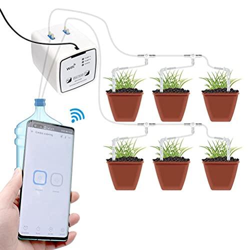 Kuashidai Sistema de riego automático Wifi doble bomba inteligente dispositivo de temporizador de riego remoto Dispositivos de riego para riego de plantas de vacaciones