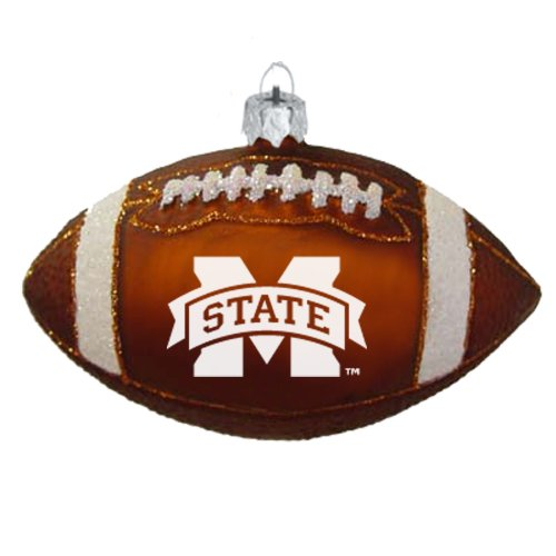 The Memory Company NCAA Mississippi State Bulldogs Blown Glass Football Ornament