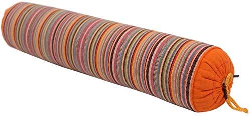 HUIQ Renhe Almohada Enrollable para el Cuello Almohadas rellenas de Trigo sarraceno Almohadas de Apoyo Cervical a Rayas para aliviar el Dolor de Dormir Azul 40x9cm / 15.75x3.54 Pulgadas-Naranja