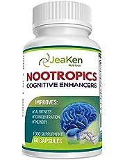 JeaKen NOOTROPICS COGNITIVE ENHANCER - Premium hersensupplementen - Brain Boost, verhoogde concentratie, alertheid en geheugen - Focuspillen boordevol vitamine Vitamine - 60 Veganistische capsules