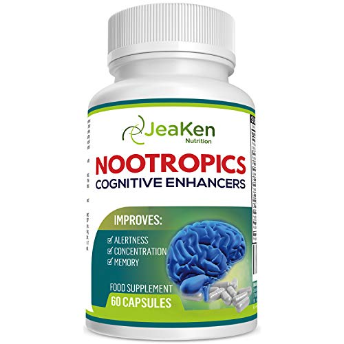 JeaKen Supper Mind - NOOTROPICS Cognitive Enhancer - Brain Boost Increased Concentration Alertness and Memory - Focus Pills Packed with Natural Ingredients (60 Capsules)