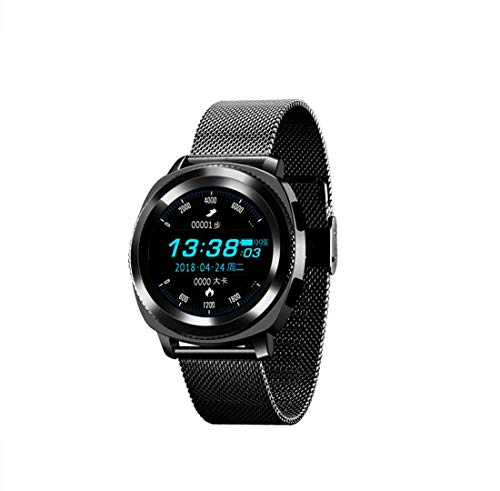 Reloj inteligente con visualización IPS HD, correa de acero IP68, resistente al agua, deportivo, con Bluetooth, correa universal de 22 mm, 10 modos deportivos incorporados, Negro