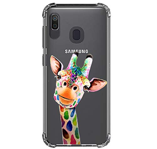 HUIYCUU Compatible with Galaxy A30 / A20 Case, Shockproof Anti-Slip Cute Rose Animal Crystal Clear Design Pattern Funny Slim Fit Soft TPU Bumper Girl Women Cover Case for Samsung Galaxy A20, Giraffe