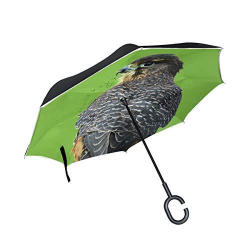 PINLLG dier valk vogel omgekeerde vouwparaplu dubbele laag omgekeerde paraplu met C-vormige handvat UV-bescherming winddichte paraplu voor auto