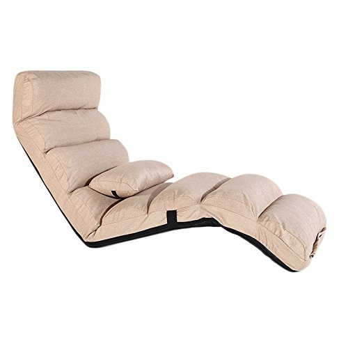 XING ZI LAZY SOFA L-R-S-F Paresseux Coton Lin Canapé Chaise Unique Pliable Canapé Lit Dossier Chaise Balcon Baie Fenêtre Loisirs Chaise Longue (Couleur : Khaki 2)