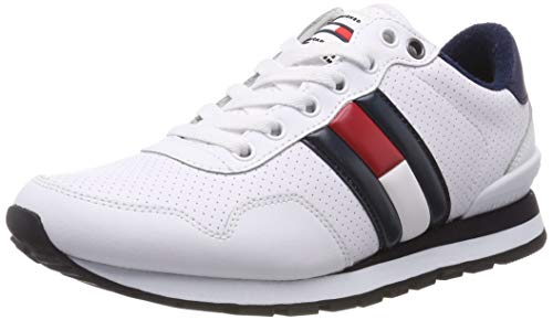 Tommy Hilfiger Lifestyle Tommy Jeans Sneaker, Zapatillas Hombre, Blanco (White 100), 43 EU