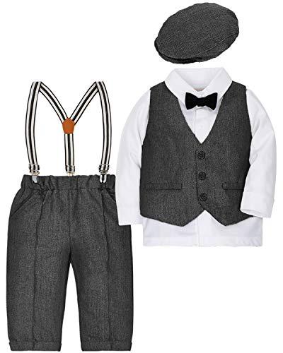 CARETOO Baby Jungen Bekleidungssets Kleidung Set Strampler Taufkleidung Anzug Set Baby Fliege Anzug für Baby Geburtstagsparty Kleid