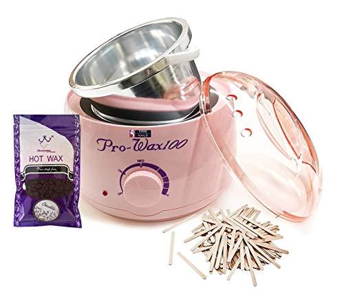 Crisnails® Calentador de Cera Eléctrico para la Depilación Profesional 500ml, Incluido 1 Bolsa de Cera y 10 Espátulas